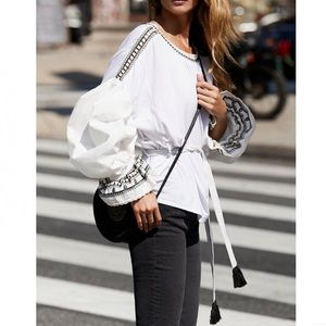 Free People 'On Holiday' Blouse in White/Black
